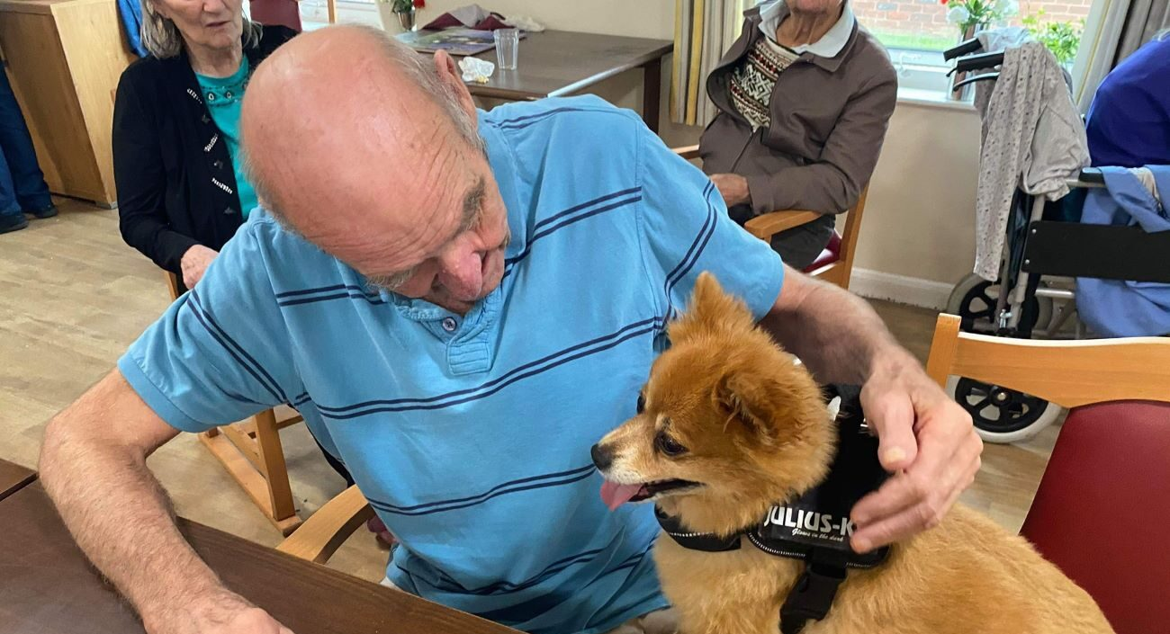 Pet therapy has become a regular fixture on the Mill View activities schedule – thanks to a trio of canine companions and a loveable rabbit.
