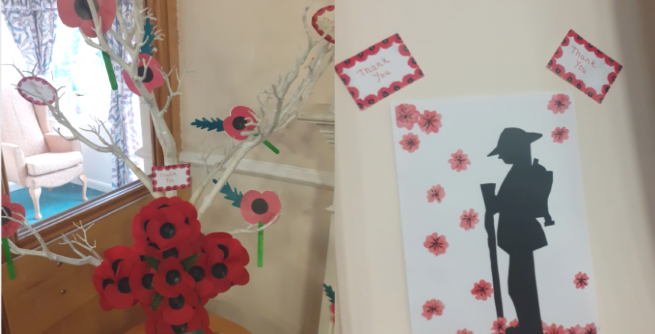 Bedford Care Home marked this year's Remembrance Day by creating a poppy display to honour the brave men and women who died in combat.