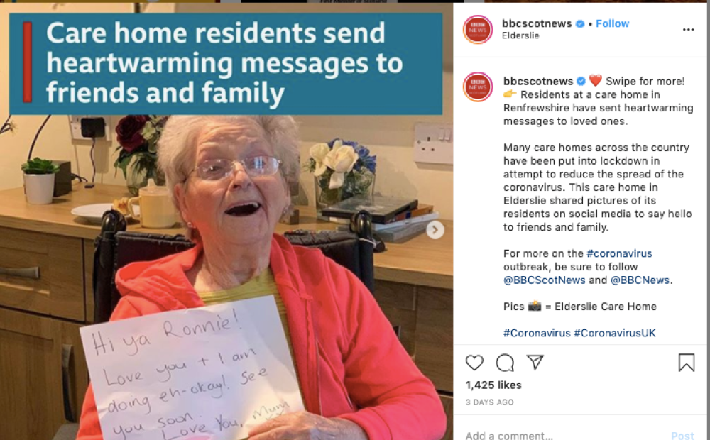 Messages of love and hope shared by the Residents of Elderslie Care Home have caught the attention of the Scottish media.