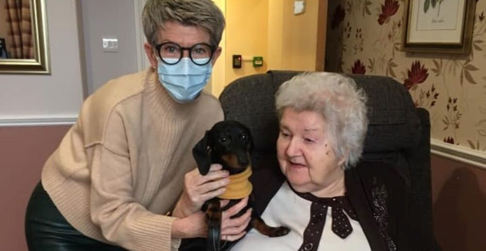 One extra special visitor has been bringing happiness to Residents at Goldielea Care Home – adorable dog Olive.